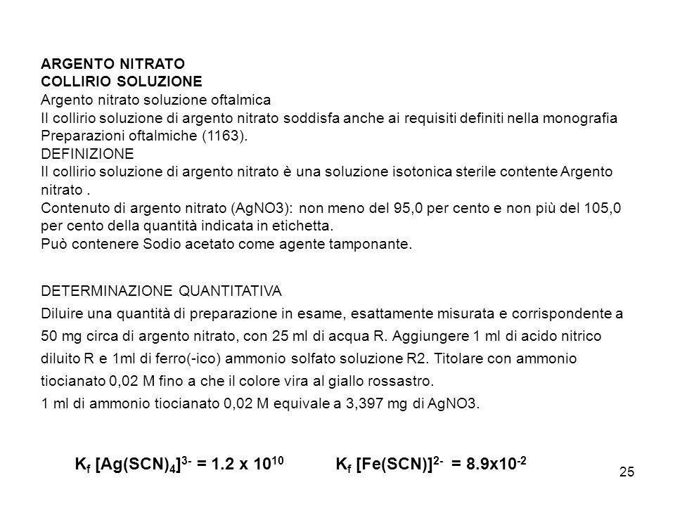 Kf [Ag(SCN)4]3- = 1.2 x 1010 Kf [Fe(SCN)]2- = 8.9x10-2 ARGENTO NITRATO